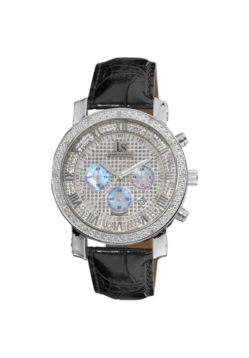 Imperial Full Pave Dial Beaded Bezel Leather JS-28