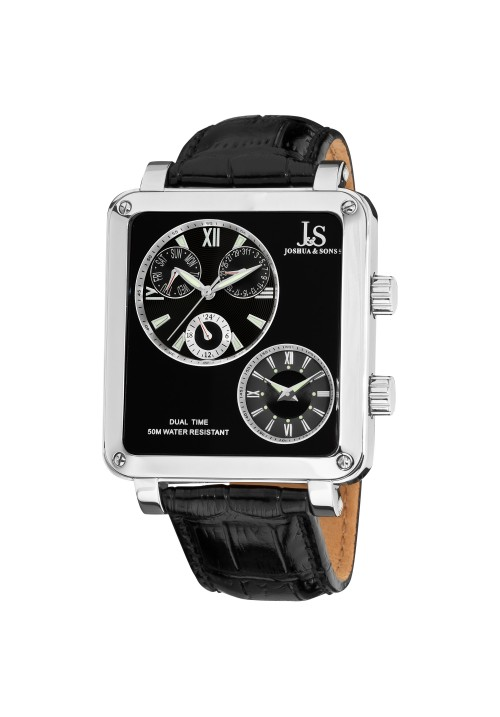 Navigator Square Case Dual Time Leather JS-30