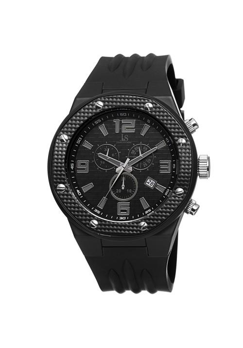 Tracer Carbon Fiber Style Bezel Chronograph Rubber JS62