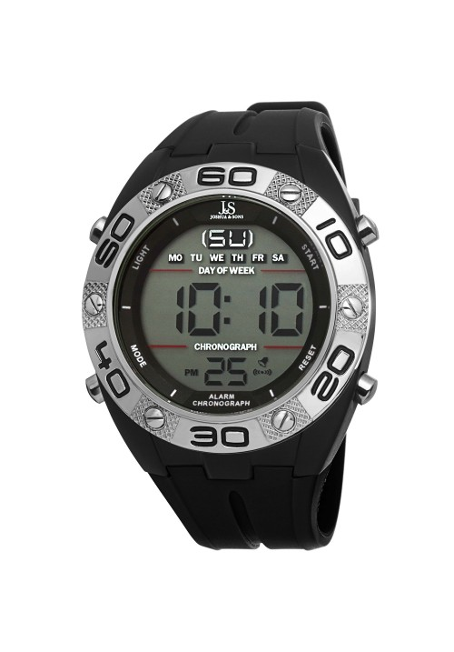 Tracer Digital Time Milled Bezel Rubber Strap JS66