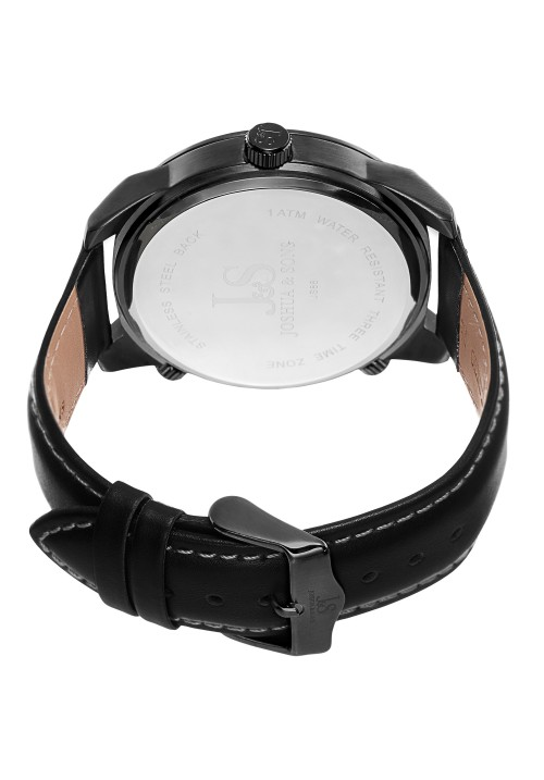 Navigator Triple Time Zone Leather Strap JS88