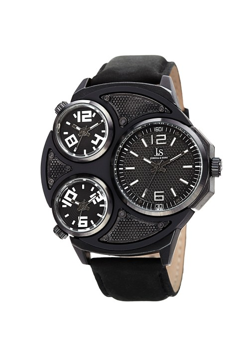 Navigator Three Time Zone Dimple Dial Leather JX105