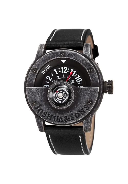 Navigator Men's Compass-Style Case Quartz Leather JX116
