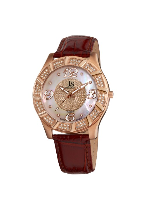 Imperial Crystal Whirlwind Bezel MOP Dial Leather JS-17