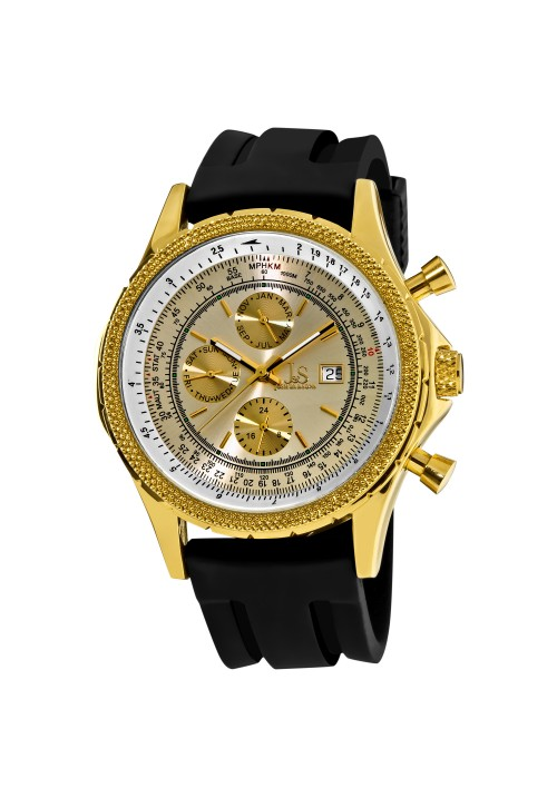 Navigator Beaded Bezel Radiant Dial Multi-Function Rubber Strap JS-10T